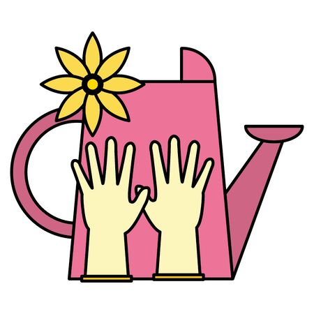 watering can gloves and flower tools decoration gardening flat design vector illustration