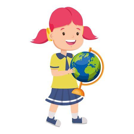 Étudiante avec carte du monde retour à l'illustration vectorielle de l'école