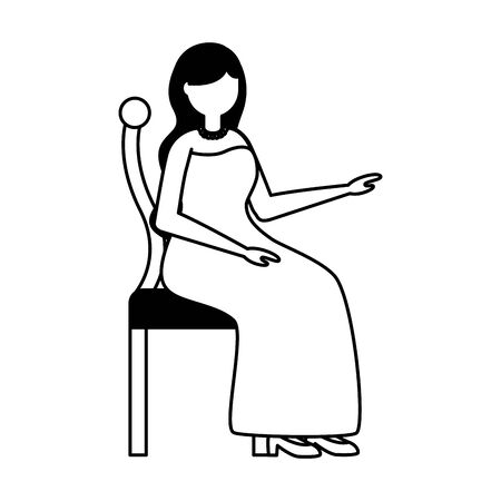 elegant woman sitting on chair vector illustration Фото со стока - 130028592
