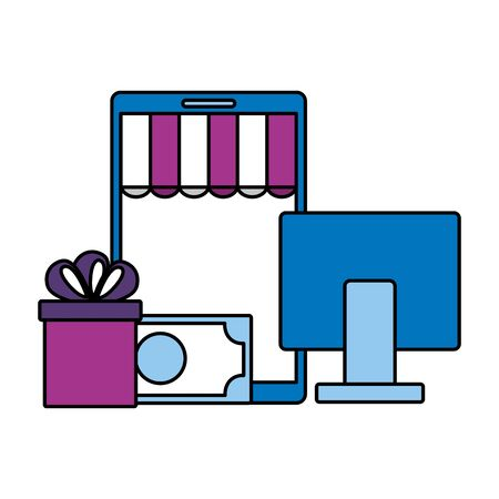online shopping ecommerce computer smartphone money gift vector illustration