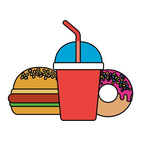 fast food burger donut soda vector illustration 일러스트