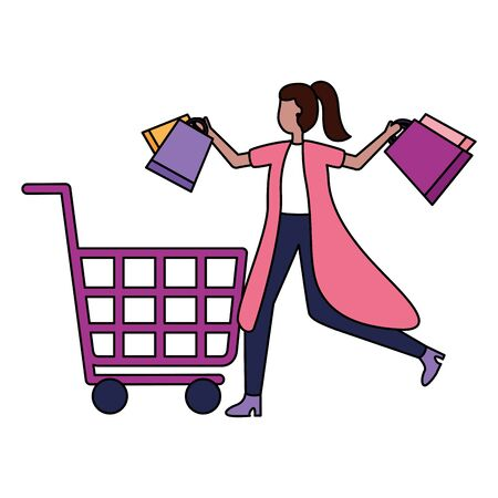 woman cart and shopping bags commerce vector illustration