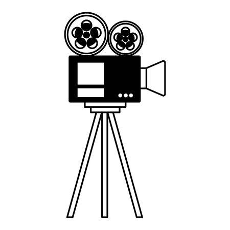 projector reel strip camera tripod cinema movie vector illustration Banco de Imagens - 130132789