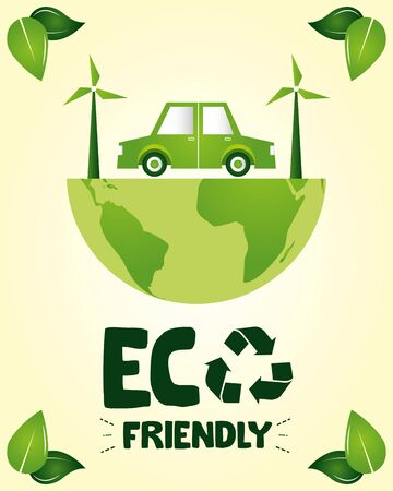 eco friendly planet car save earth vector illustration