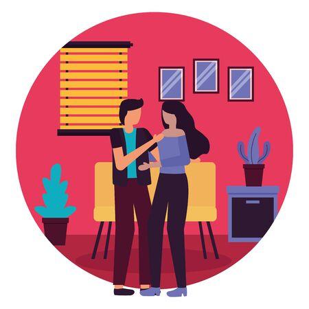 couple romantic love home room flat design vector illustration