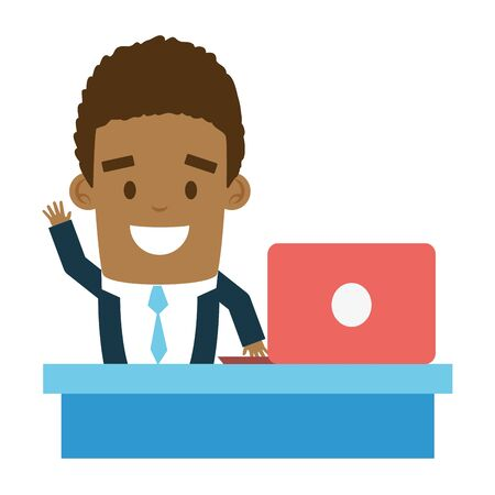 businessman working laptop send email vector illustration Illustration