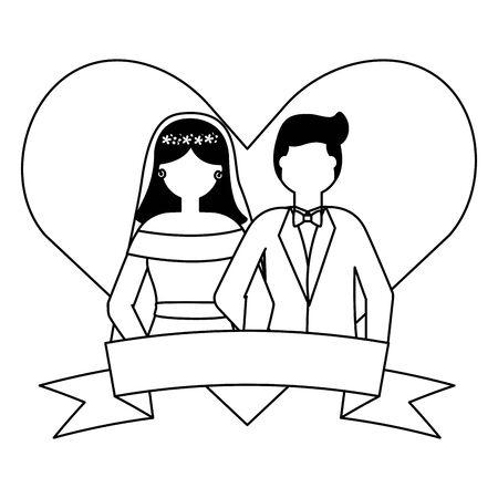 bride and groom heart love ribbon wedding vector illustration Иллюстрация