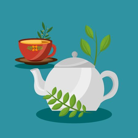 Tea pot and cup design, Drink breakfast beverage tradition kitchen and aromatic theme Vector illustration