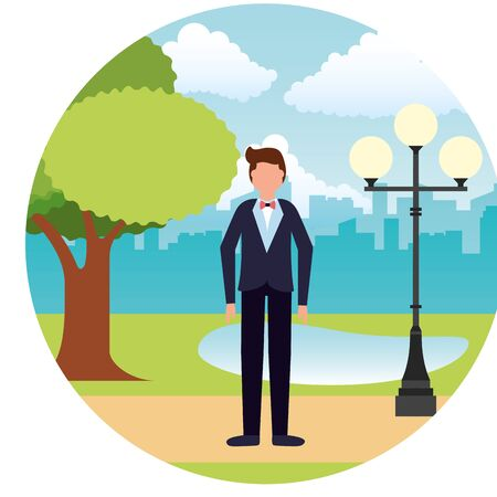 wedding day groom character outdoors vector illustration