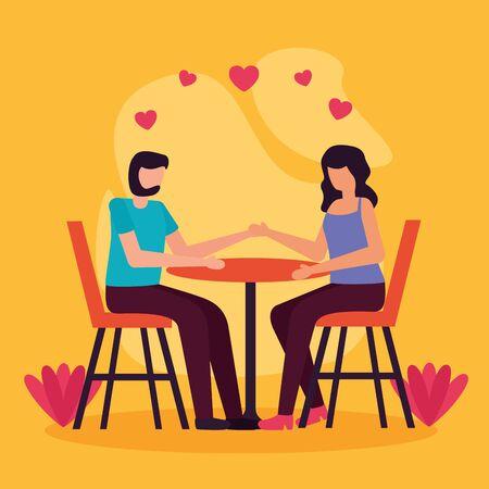 couple romantic sitting activities outdoors vector illustration