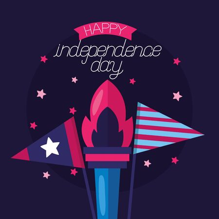 flag and torch american happy independence day vector illustration