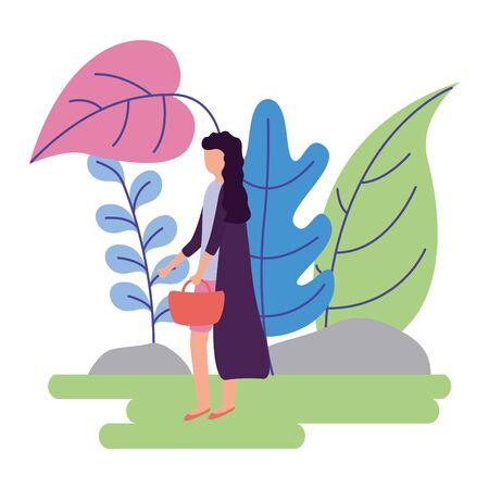 woman with handbag activity outdoors on white background Illusztráció