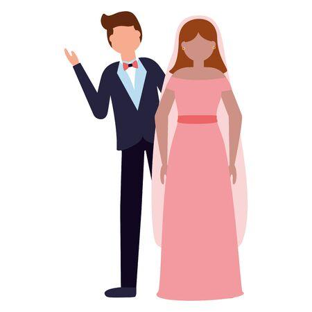 bride and groom celebrating wedding day vector illustration