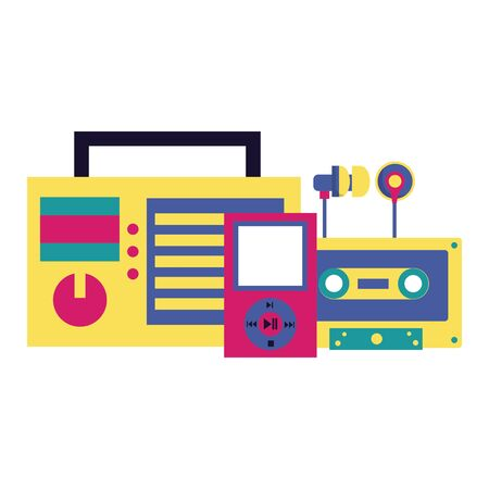 radio stereo cassette mp3 earphones festival music vector illustration