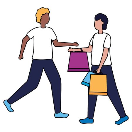 two men with shopping bags commerce vector illustration 일러스트