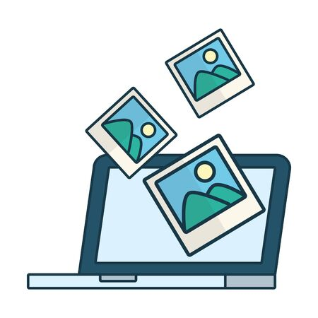 laptop computer photo send email vector illustration Ilustrace