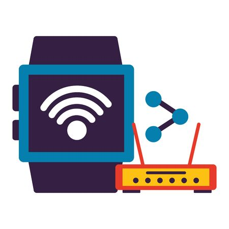 smart watch router share wifi free connection vector illustration