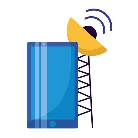 sensore del segnale dell'antenna dello smartphone su sfondo bianco illustrazione vettoriale