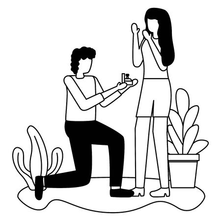 man proposing marriage to woman romantic love flat design vector illustration Иллюстрация