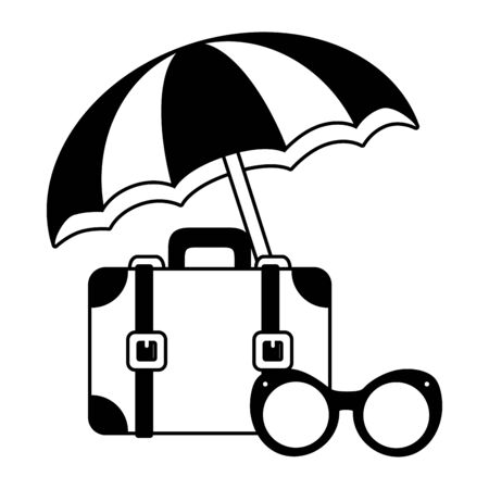 beach vacations umbrella suitcase sunglasses  vector illustration Stock Vector - 130133143
