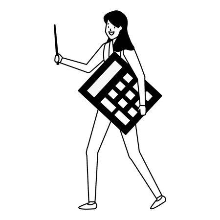 businesswoman holding calculator financial business work vector illustration