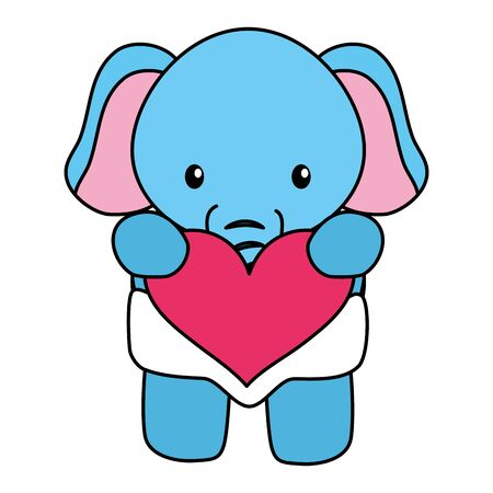 cute little elephant baby with heart love character vector illustration design