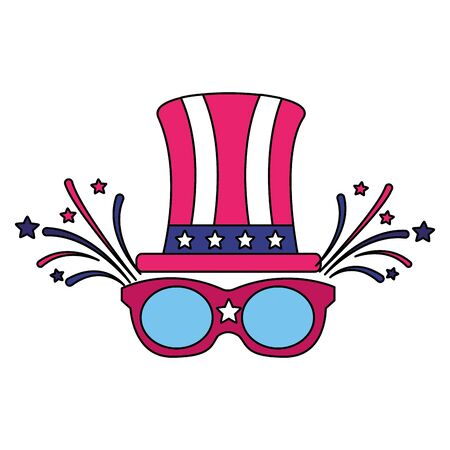 top hat and sunglasses american happy independence day vector illustration Stock Illustratie
