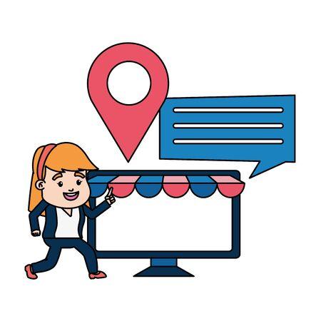 businesswoman online payment computer ecommerce vector illustration Ilustracja