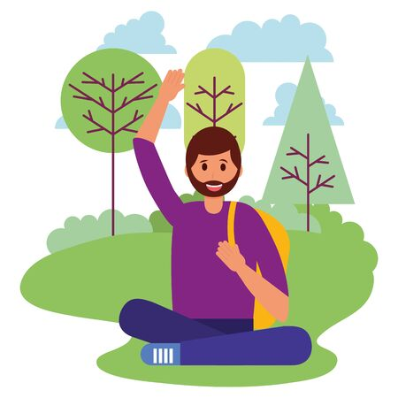 happy young man in the park outdoors vector illustration