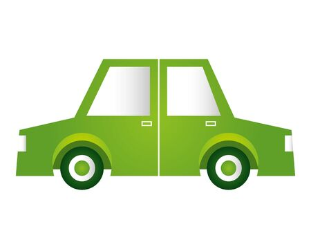 green car transport eco friendly environment vector illustration