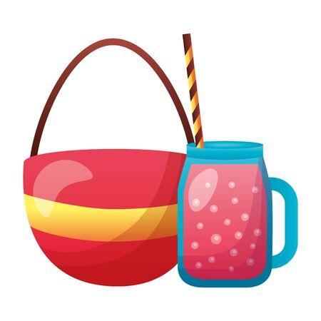 summer time holiday handbag fresh juice  vector illustration  イラスト・ベクター素材