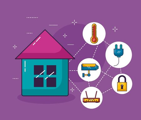 smart house surveillance security router wifi free connection vector illustration