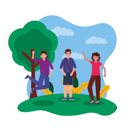 happy young people in the park jumping and greeting vector illustration