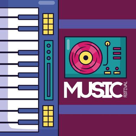 synthesizer turntable vinyl festival music poster vector illustration Illustration