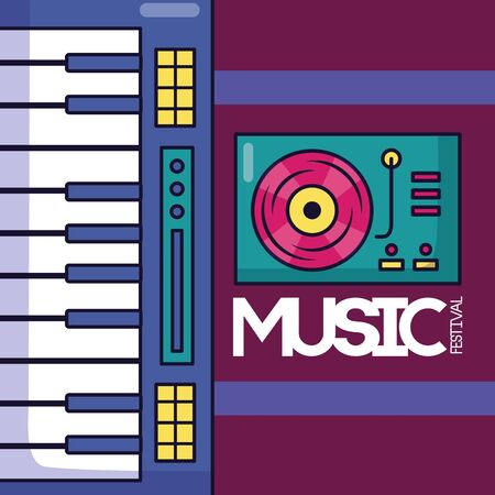 synthesizer turntable vinyl festival music poster vector illustration Çizim