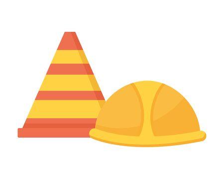 helmet and traffic cone tool construction equipment vector illustration Иллюстрация