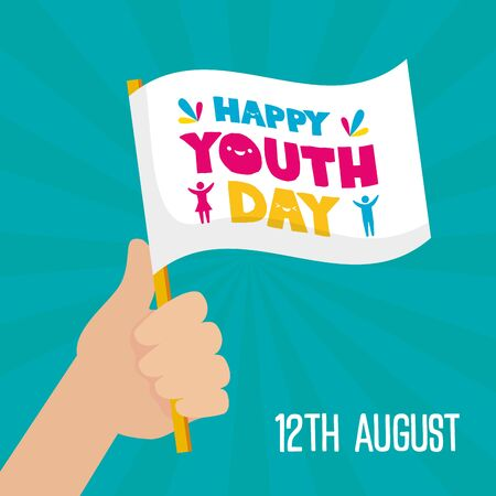 hand holding white flag happy youth day flat design vector illustration