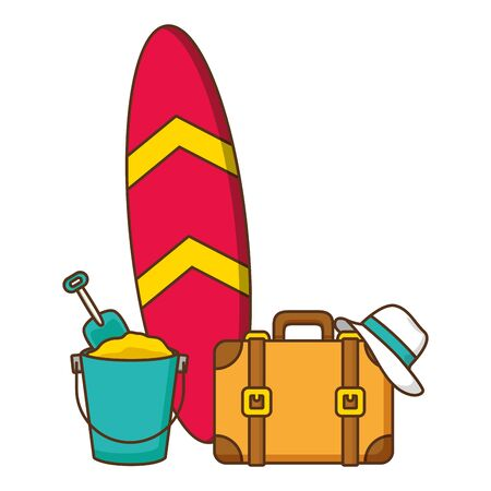 vacations suitcase bucket and hat vector illustration