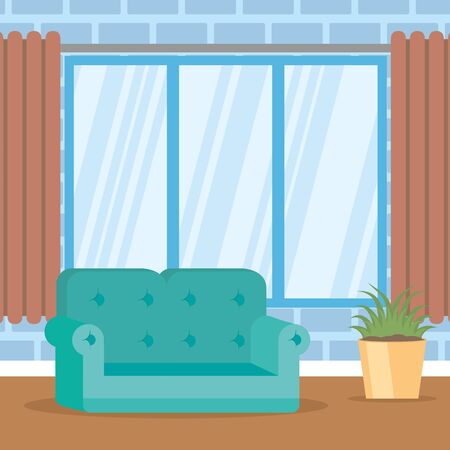 living room couch plant windows vector illustration 向量圖像