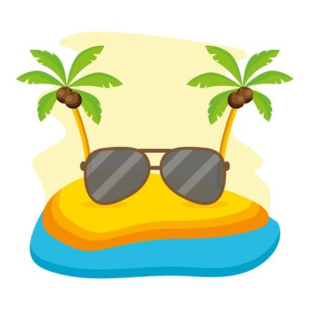 summer time holiday sunglasses beach palms vector illustration 向量圖像
