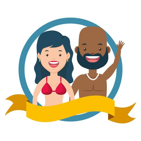 summer time couple in swimsuits vector illustration 向量圖像
