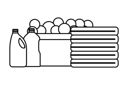 laundry bucket clothes bottles spring cleaning tools vector illustration Illustration