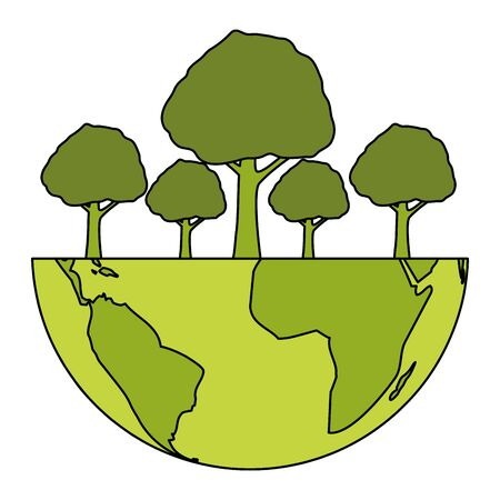 world planet forest trees eco friendly environment vector illustration