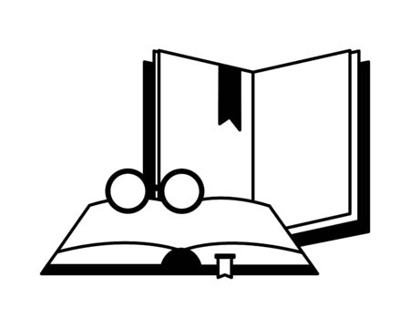 open books with glasses icon vector illustration design Illusztráció