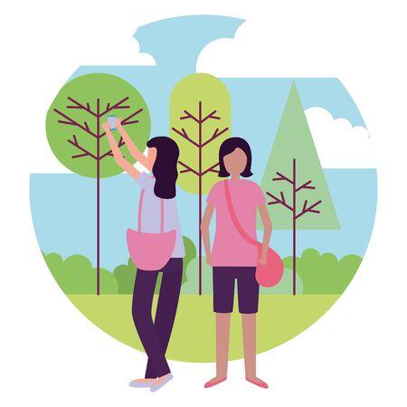 women with smartphone selfie activities outdoors vector illustration
