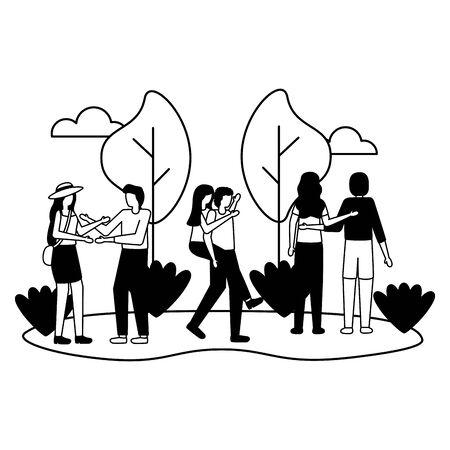couples romantic love park outdoors flat design vector illustration