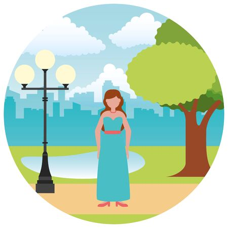 wedding day bride in the outdoors vector illustration