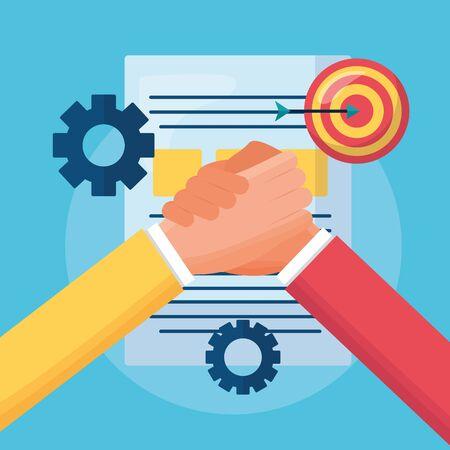 people business handshake document target vector illustration