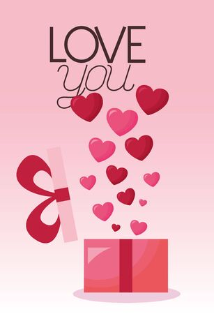 Hearts and gift design, Love valentines day romance relationship passion and emotional theme Vector illustration