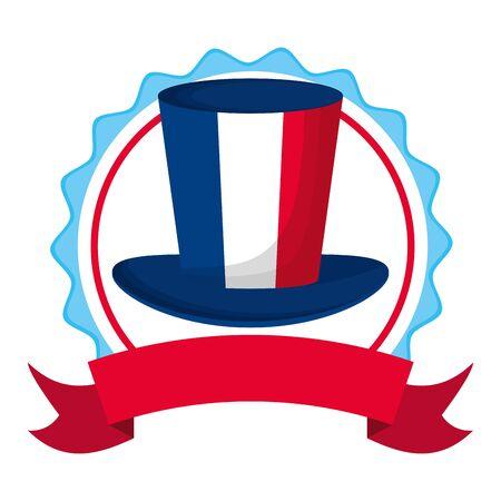 top hat french flag happy bastille day flat design vector illustration
